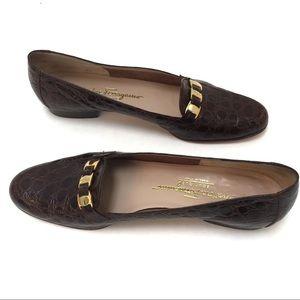 Salvatore Ferragamo Boutique Croc Loafers Logo